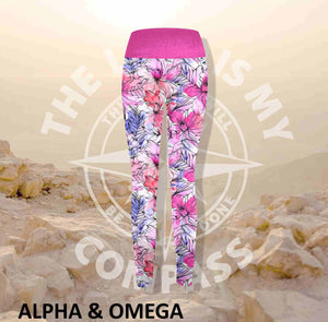 Alpha And Omega Floral Faith Print Athleisure Tights