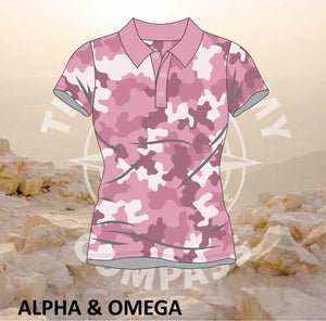 Alpha and Omega Be Strong Pink Camo Ladies Golf Shirt