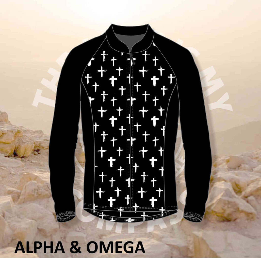 Alpha And Omega White Cross Print Trail Jacket