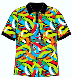 Female Funky Brush Strokes Custom Printed Golf Shirt