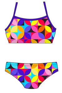 Female 2 piece training bikini -  Geo petals