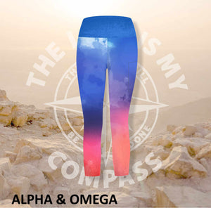 Alpha And Omega Watercolor Jesus Loves you  Athleisure Three Quarter Tights