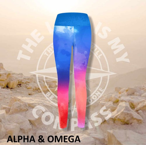 Alpha And Omega Watercolor Jesus loves you print Athleisure Tights