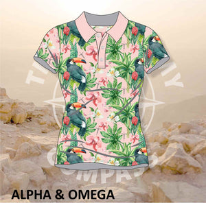 Alpha and Omega Garden of Eden Ladies Golf Shirt