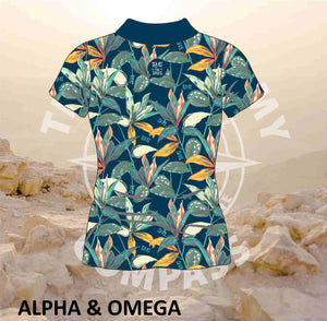 Alpha and Omega Trust His Timing Ladies Golf Shirt