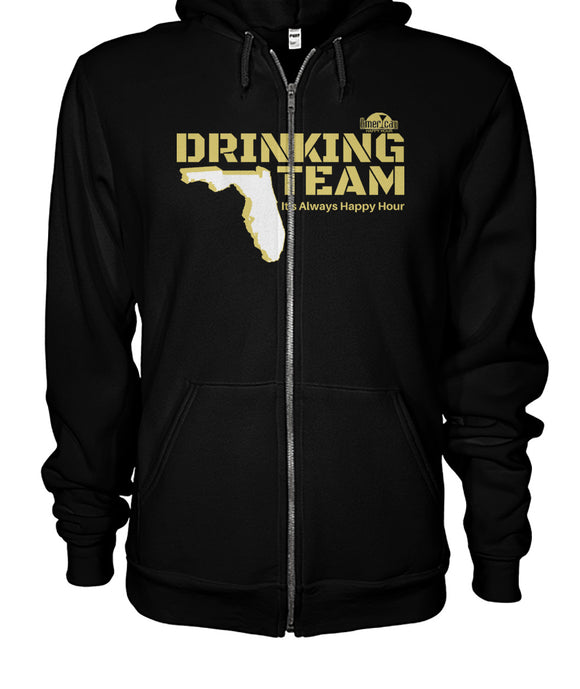 Black and Gold Drinking Team Gildan Zip-Up Hoodie