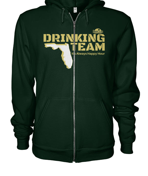 Green and Gold Drinking Team Gildan Zip-Up Hoodie