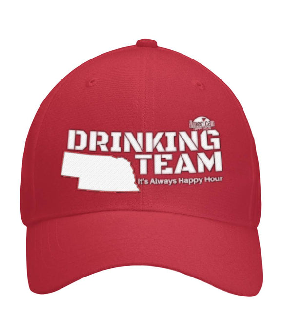 RED & WHITE NEBRASKA DRINKING TEAM Curved Bill Velcro Strap