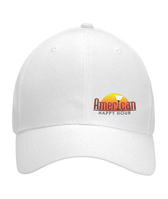 American Happy Hour Ball Cap Rounded Curved Bill Velcro Strap