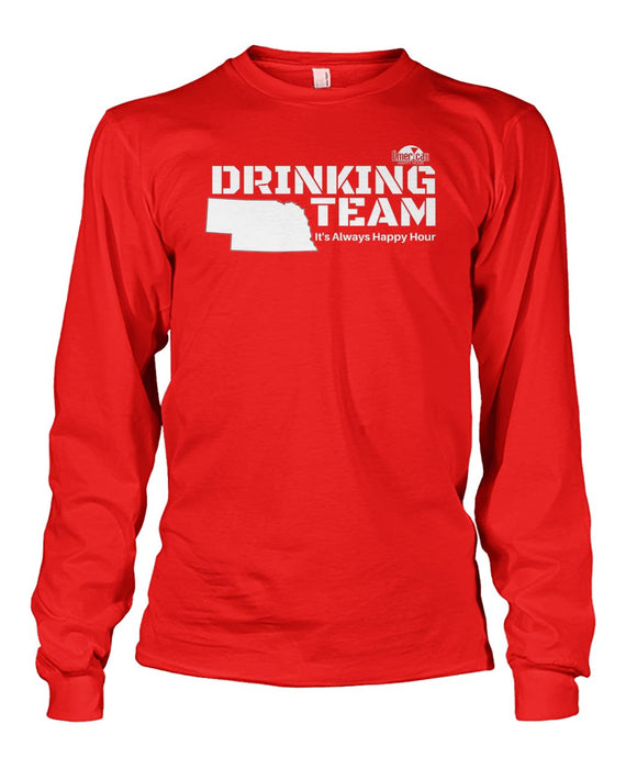 RED & WHITE NEBRASKA DRINKING TEAM Unisex Long Sleeve