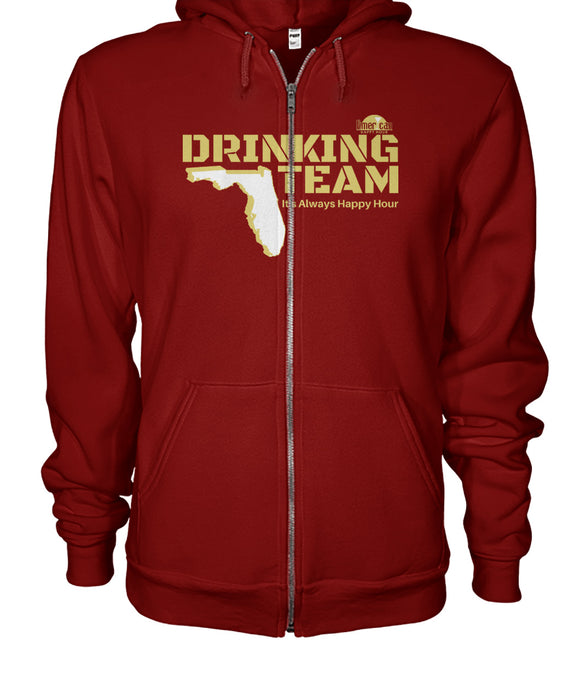 Garnet and Gold Florida Drinking Team Gildan Zip-Up Hoodie