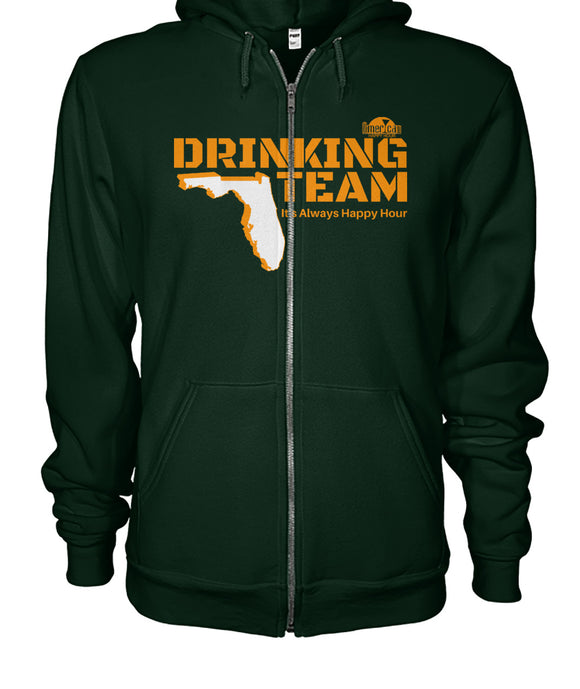Green and Orange Drinking Team Gildan Zip-Up Hoodie