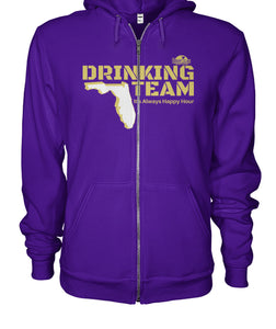 Purple and Gold Drinking Team Gildan Zip-Up Hoodie