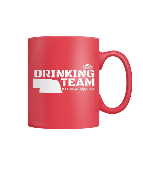 RED & WHITE NEBRASKA DRINKING TEAM Color Coffee Mug