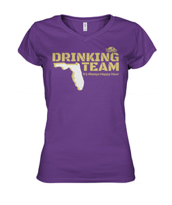 Purple and Gold Drinking Team Women's V-Neck