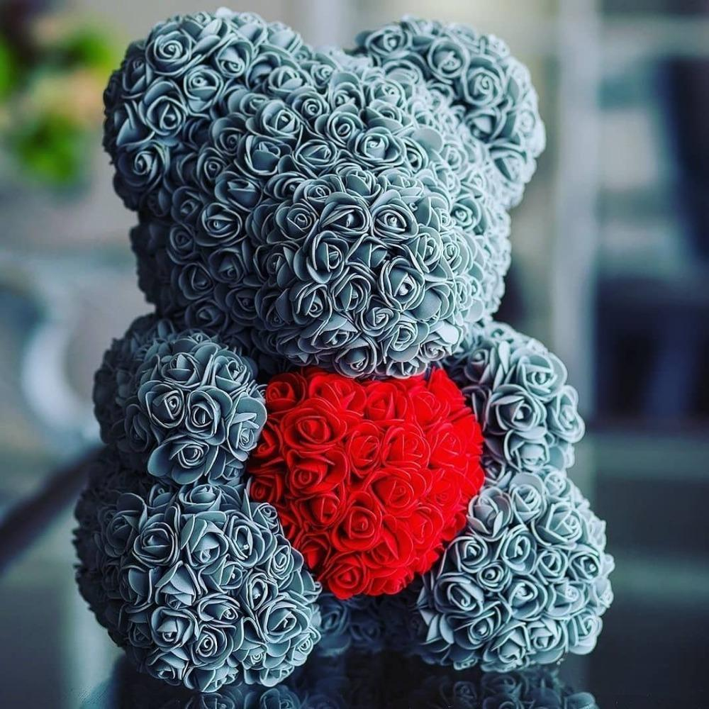Sweet And Rosy™ 40cm grey bear 40cm Rose Teddy Bear Heart Design