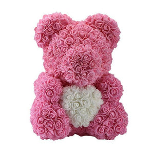 Sweet And Rosy™ 40cm pink white bear 40cm Rose Teddy Bear Heart Design