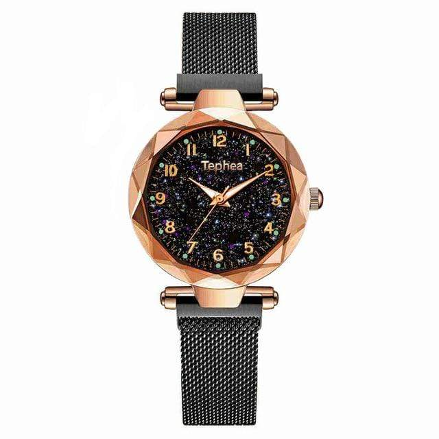 Sweet And Rosy™ black gold Magnetic Starry Sky Watch