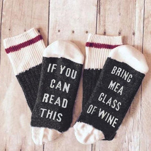 Sweet And Rosy™ Black/White If You Can Read This Bring Me a Glass of Wine Novelty Socks