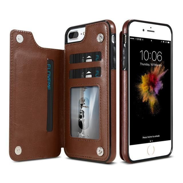 Sweet And Rosy™ Brown / For iPhone 8 Retro PU Leather Wallet Case For iPhone