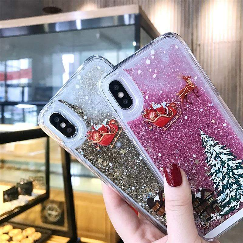 Sweet And Rosy™ Dynamic Liquid Quicksand Christmas iPhone Case