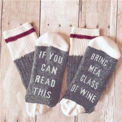 Sweet And Rosy™ Gray/White If You Can Read This Bring Me a Glass of Wine Novelty Socks
