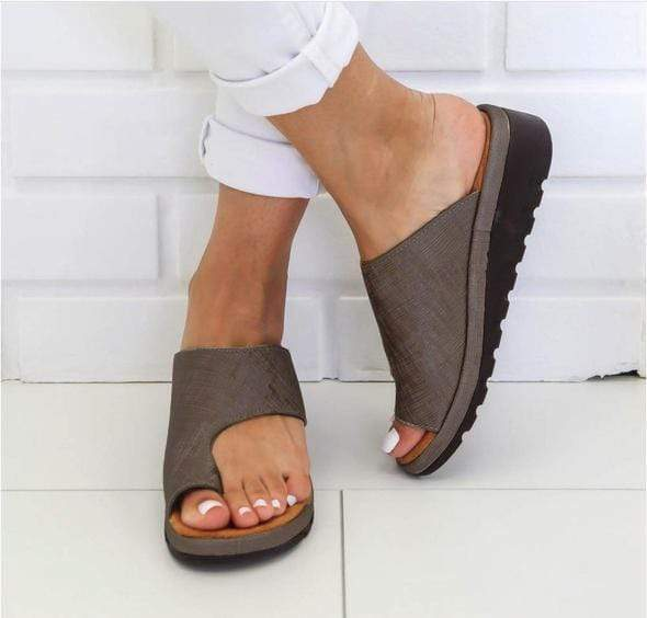 Sweet And Rosy™ Khaki / 35 Comfy Anti-Bunion Platform Sandals