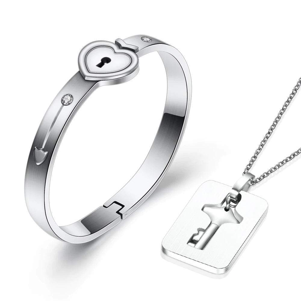Sweet And Rosy™ Silver / One Size Heart Lock Bracelet & Key Necklace