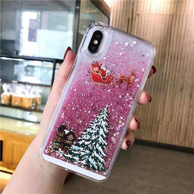 Sweet And Rosy™ T3 / for iPhone 8 Dynamic Liquid Quicksand Christmas iPhone Case