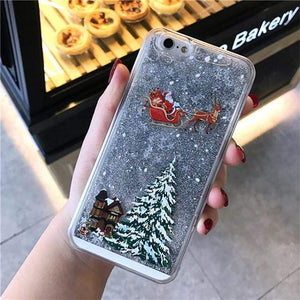 Sweet And Rosy™ T4 / for iPhone XS Dynamic Liquid Quicksand Christmas iPhone Case