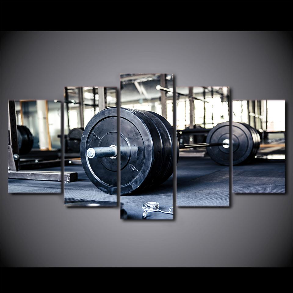 Modern panel weightlifting sports gym fitness living room canvas