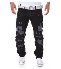 Spring and summer new men's double waist hole broken leisure trousers.