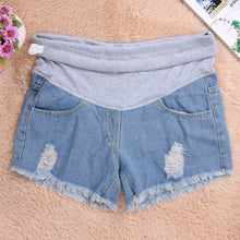 Summer Maternity Denim Shorts Jeans Elastic Waist  Cotton  For Pregnants.