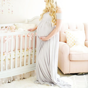Maternity Dress for Photo shoot  Off Shoulders Cotton fancy Dress.