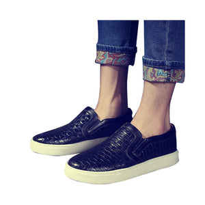 HEE GRAND  Plaited Shoes Slip-on Casual Bright Platform Round Toe Loafers For Men.
