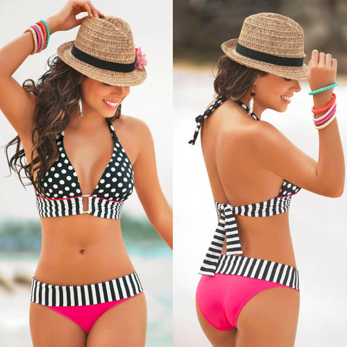 High Waisted Retro Fringe Vintage Bikini Swimsuit with Polka Dots and stripes