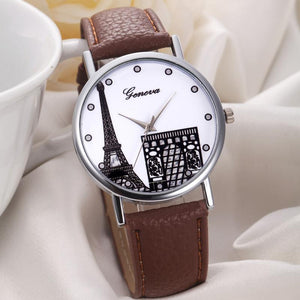Eiffel Tower  Leather Band Analog Quartz dial Wristwatche for women.