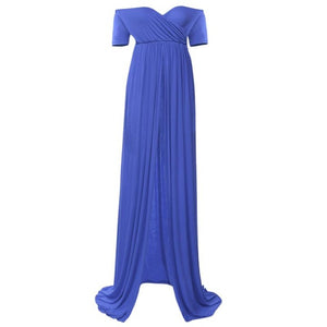 Photo Shooting  Elastic Cotton long  Length Boat Neck Shoulderless Maternity  Dress.