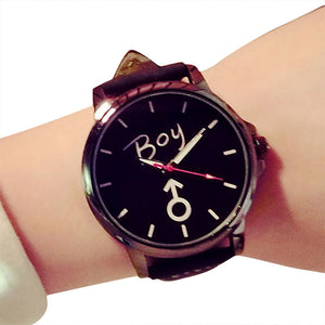 Unisex Quartz Analog  Delicate  Luxury Leather Band printed letter boy/girl wristwatch.