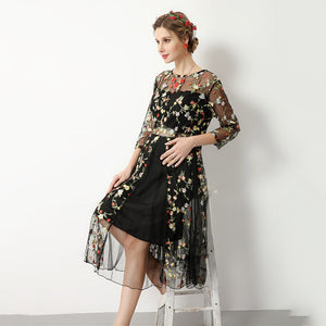 Spring Maternity  Flower Embroidery Dress.