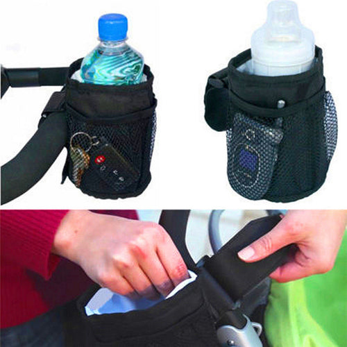 Fabric Waterproof Baby Stroller Insulated Cup Holder.  Drink, Keys, Phone Holder.