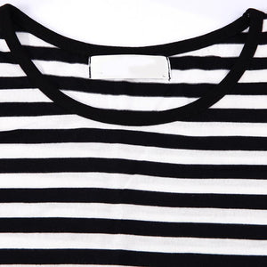 Long Sleeve Nursing Casual T-Shirt  Black White Striped Maternity Clothes Tops.