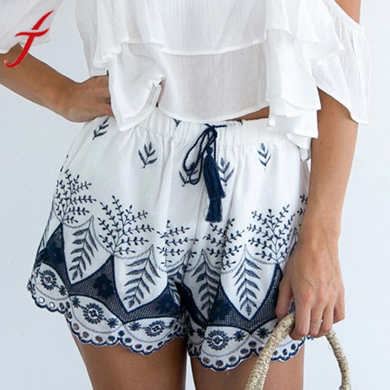 Hot Summer Beach  Embroidery Bohemian High Quality Elastic High Waist Lace casual Shorts.