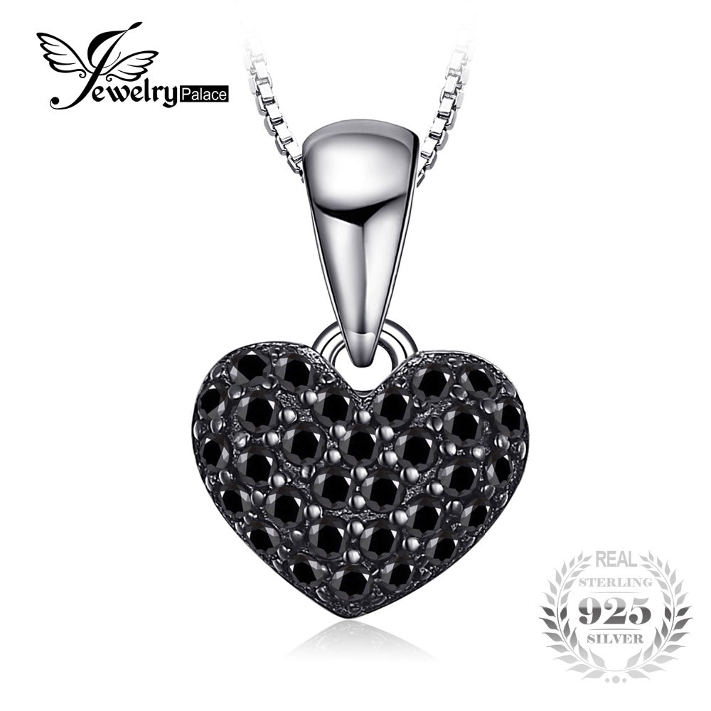 JewelryPalace Fashion 0.28ct Natural Black Spinel Love Heart Necklaces Pendant Solid 925 Sterling Silver box Chain  Jewelry.