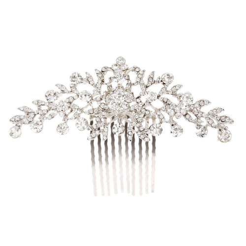 Wedding Flower  Crystal Rhinestone Women Hair Comb Headpiece.