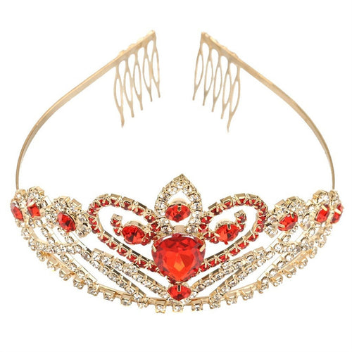 Crystal Rhinestone Gold Red Hair Tiara Crown.