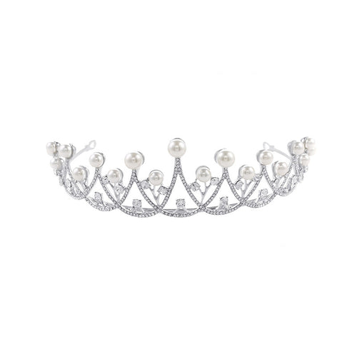 Bridal Crystal Tiara Crowns Pageant, or Prom Rhinestone  Pearl Headpiece.
