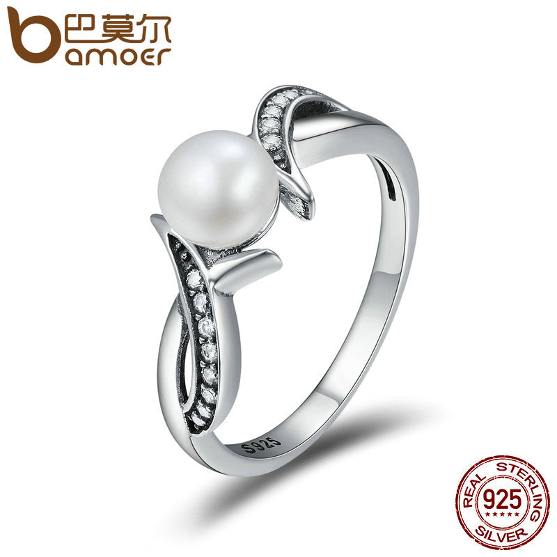 Genuine 925 Sterling Silver I Miss You Fresh Water Pearl  Wedding Engagement ring.  Jewelry SCR170