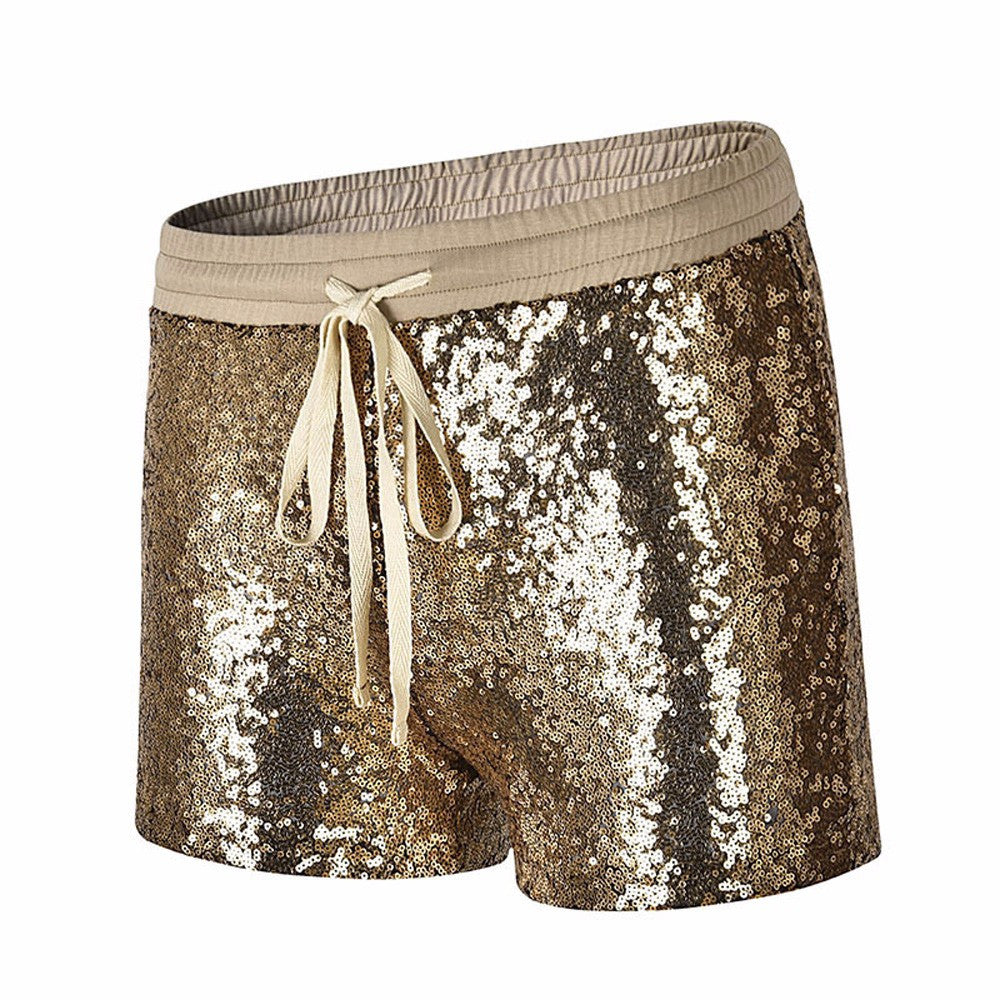 Women Sequins  Mid Waist  Pocket casual Shorts.
