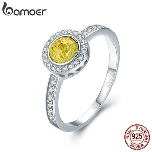 Silver Luminous  Yellow Crystal Round  Ring for Wedding Engagement Jewelry  925 sterling silver. SCR239